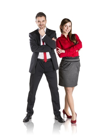 Successful business couple is standing on isolated background. Stock Photo - 17593764