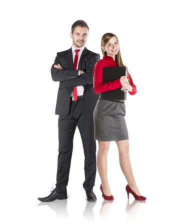 Successful business couple is standing on isolated background. Stock Photo - 17593749