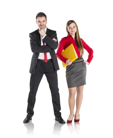 Successful business couple is standing on isolated background. Stock Photo - 17593768