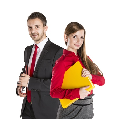 Successful business couple is standing on isolated background. Stock Photo - 17593754