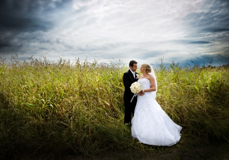 Bride and groom are posing outdoors 版權商用圖片