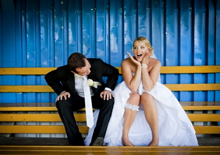 Bride and groom outdoor wedding portraits  photo