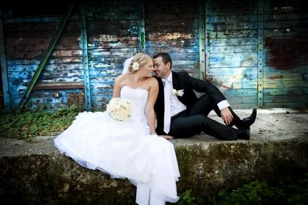 wedding suit: Bride and groom outdoor wedding portraits  Stock Photo