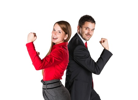 happy business team: Successful business couple is standing on isolated background.