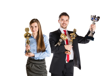 Successful business man and woman are celebrating on isolated white background. Stock Photo - 17663460