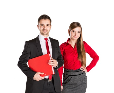 Successful business couple is standing on isolated background. Stock Photo - 17664073