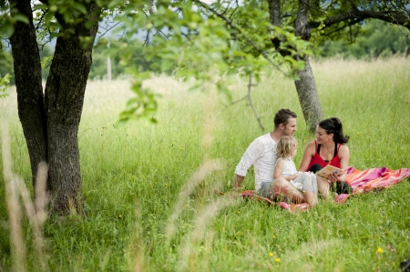 family picnic: Happy family is playing together in a green meadow.