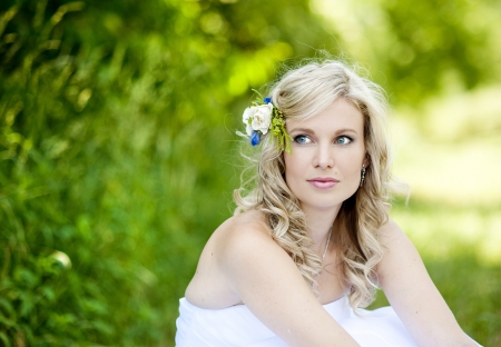 beautiful bride: Beautiful bride is enjoying her wedding day Stock Photo