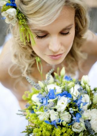 outdoor wedding: Beautiful bride is enjoying her wedding day Stock Photo
