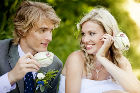 Beautiful wedding couple is enjoying wedding  Stock Photo - 17972140