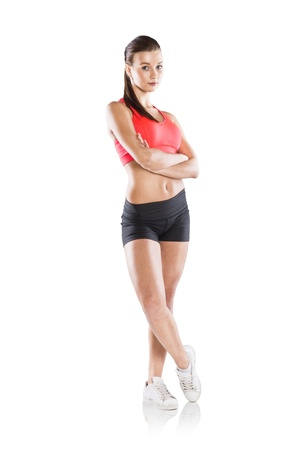 sport clothes: Young woman with beautiful slim body in sport clothes.
