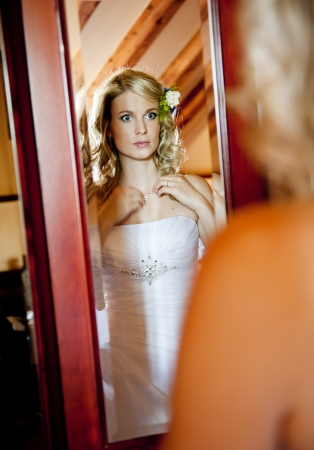 getting ready: Bride is getting ready for her wedding day