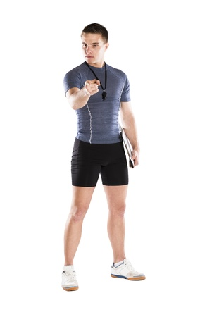 Professional fitness coach isolated on white background photo