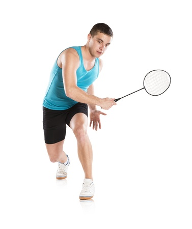 badminton racket: Portrait of sport player isolated on white background