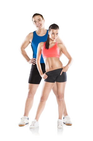 fit on: Athletic man and woman after fitness exercise