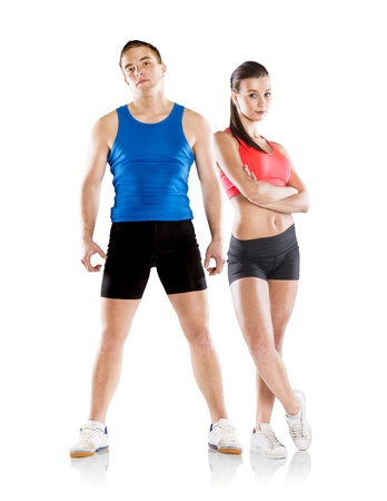 fitness couple: Athletic man and woman after fitness exercise