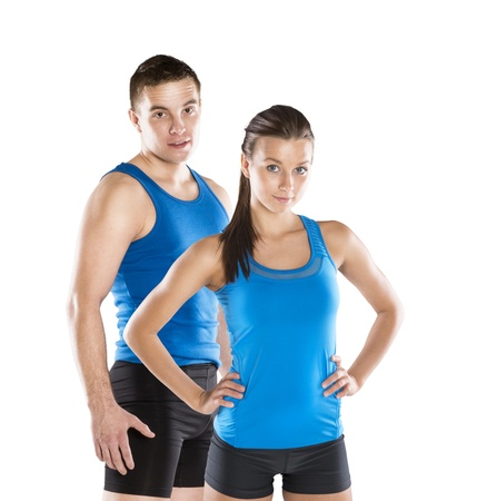 fit couple: Athletic man and woman after fitness exercise
