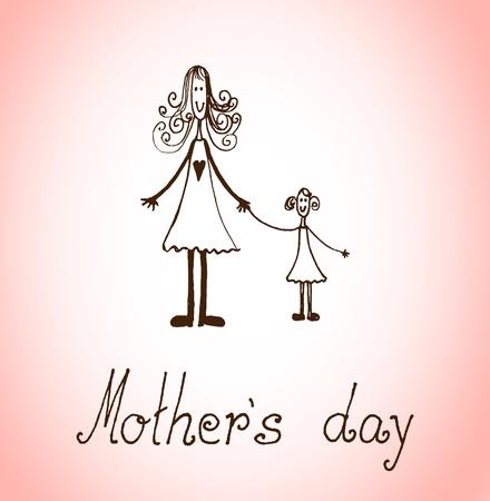Dibujado a mano la tarjeta del día de madres con las historietas ilustración