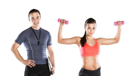 floor plans: Professional fitness coach with beautiful young woman on white background