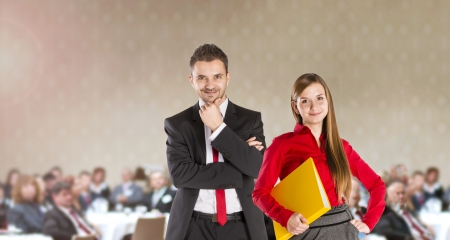 Indoor business conference for managers in hotel  photo