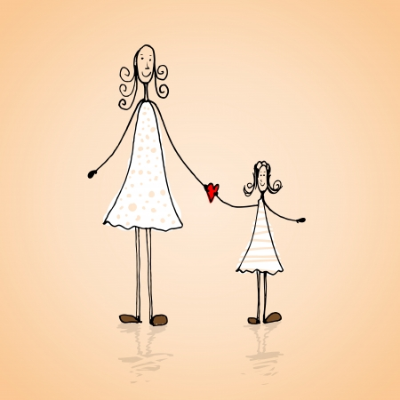 mother's hand: Hand drawn mothers day card with cartoons illustration