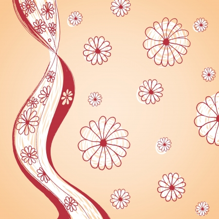 daisy vector: Floral vector background with hand drawn daisy flowers
