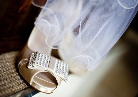 Photograph of a beautiful wedding shoes ready for bride photo