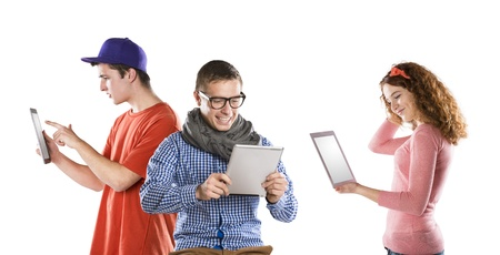 education technology: Beautiful young people with tablet in studio