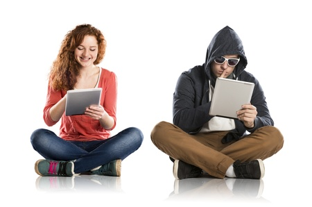 online safety: Concept of potentional internet danger with teen girl amd man in disguise