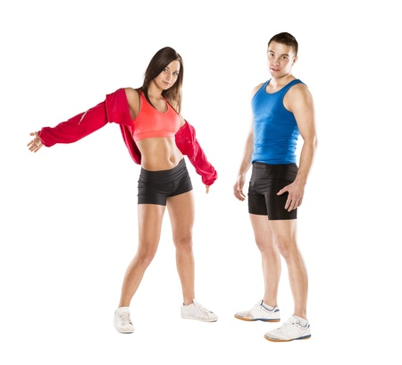 relaxation exercise: Athletic man and woman after fitness exercise
