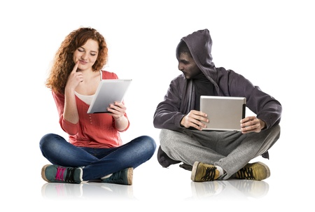 web browsing: Concept of potentional internet danger with teen girl amd man in disguise