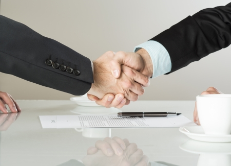 Businessmen are signing a contract, business contract details Stock Photo - 20208494