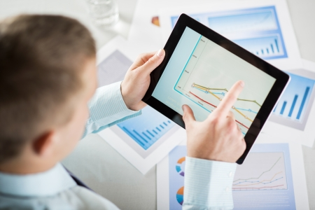 finance report: Businessman is reading business graphs and charts