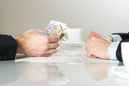 Businessmen are signing a contract, business contract details Stock Photo - 20208501