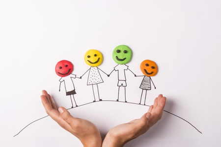 happy family concept: Happy family concept with heads from play dough
