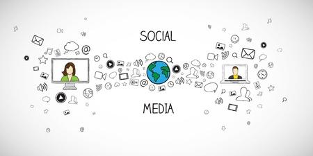 medios de comunicacion: Medios de comunicaci?n social ilustraci?n vectorial