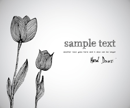 Hand drawn illustration of flowers with space for copy text  Vector