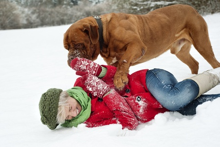 Blonde girl is having fun with her big brown dog in snow photo