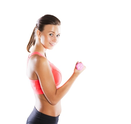 strong arm: Studio fitness portrait isolated on white background Stock Photo