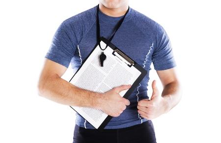 whistle: Studio fitness portrait isolated on white background Stock Photo