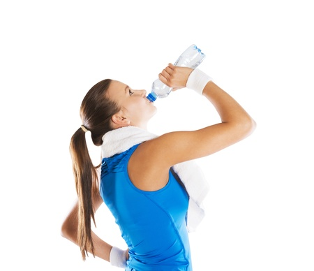 Studio fitness portrait isolated on white background Stock Photo