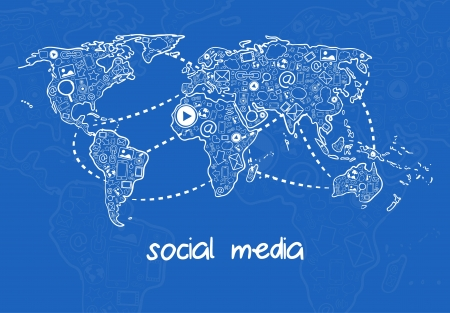 Vector illustration of social media communication with icons illustration