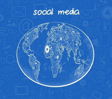 Vector illustration of social media communication with icons Vector