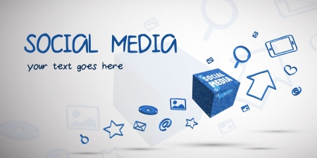 Vector illustration of social media communication with icons