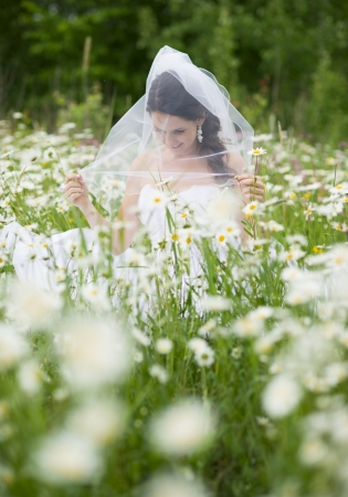 Bride in white wedding dress at the meadow photo
