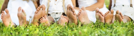woman foot: Happy family