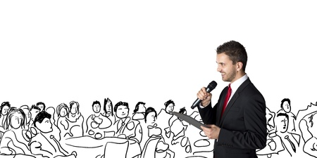 event: Handsome businessman is speaking on conference in hotel Stock Photo