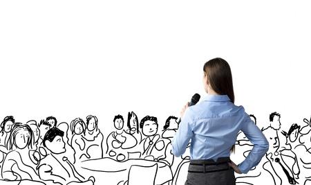 Belle femme d'affaires parle sur la conférence Banque d'images - 21228718
