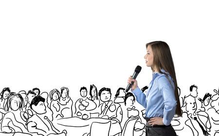 corporativo: Mujer de negocios hermosa está hablando en la conferencia Foto de archivo