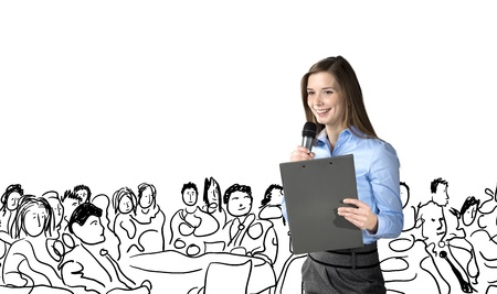 corporate event: Beautiful business woman is speaking on conference